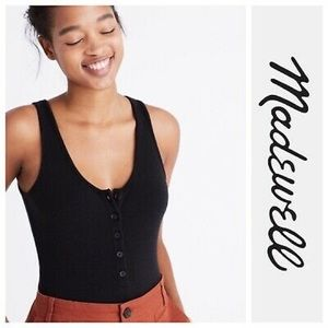 Madewell Black Tank Button-Up Bodysuit S